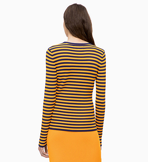 CALVINKLEIN Rib-Knit Stripe Jumper - ROYAL BLUE / TANGERINE - CALVIN KLEIN INVEST IN COLOUR - detail image 1
