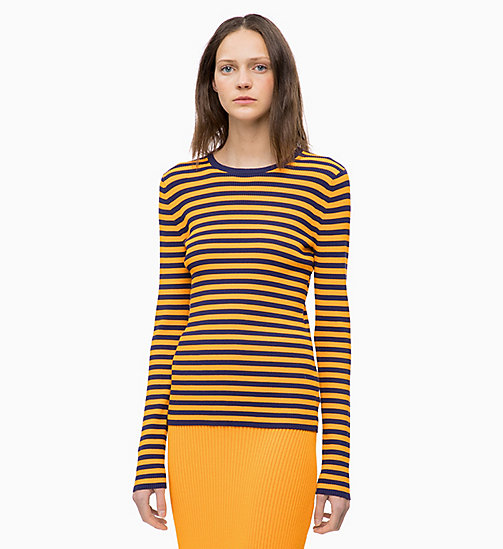 CALVINKLEIN Rib-Knit Stripe Jumper - ROYAL BLUE / TANGERINE - CALVIN KLEIN INVEST IN COLOUR - main image