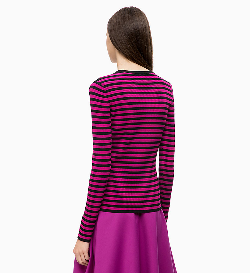 CALVINKLEIN Rib-Knit Stripe Jumper - ROYAL BLUE / TANGERINE - CALVIN KLEIN WOMEN - detail image 1