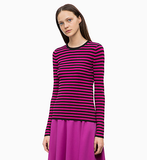 CALVINKLEIN Rib-Knit Stripe Jumper - BLACK / ORCHID - CALVIN KLEIN NEW IN - main image