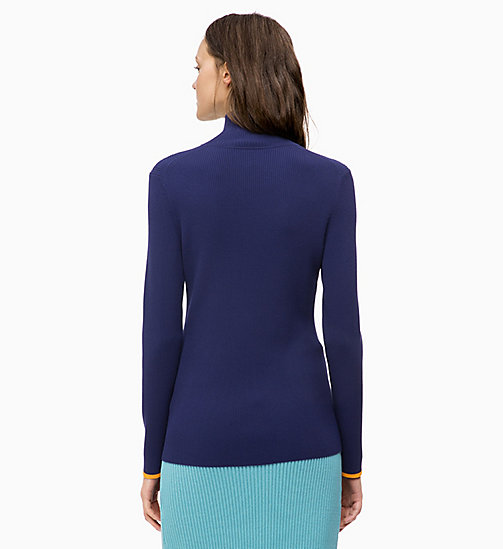 CALVINKLEIN Rib-Knit Turtleneck Jumper - ROYAL BLUE - CALVIN KLEIN INVEST IN COLOUR - detail image 1