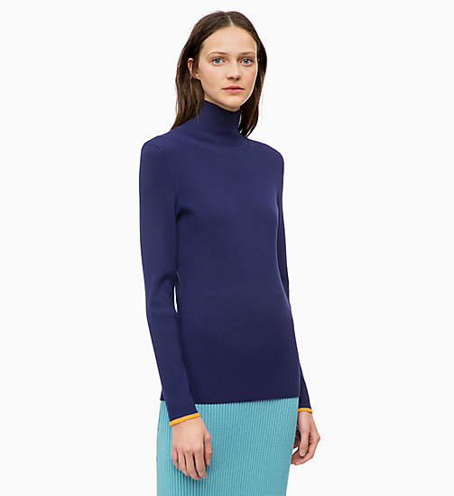 CALVINKLEIN Rollkragenpullover in Rippstrick-Optik - ROYAL BLUE - CALVIN KLEIN FARB-INVESTMENT - main image