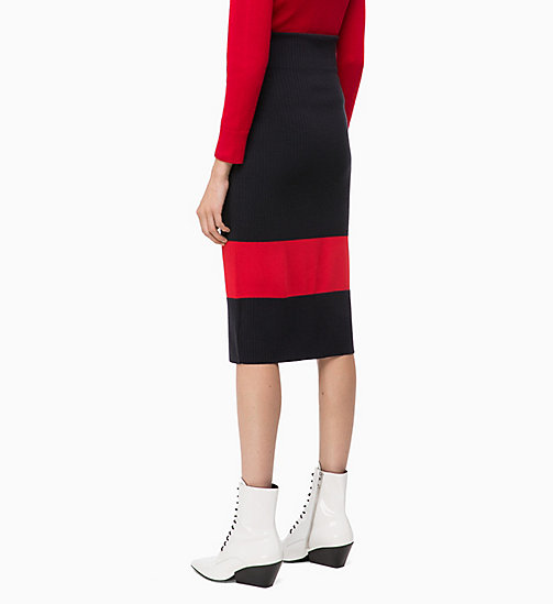 CALVINKLEIN Wool Knit Colour Block Skirt - DEEP NAVY / CRIMSON -  INVEST IN COLOUR - detail image 1
