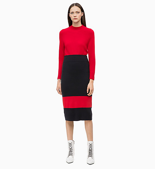 CALVIN KLEIN Wool Knit Colour Block Skirt - DEEP NAVY / CRIMSON - CALVIN KLEIN CALVIN KLEIN WOMENSWEAR - detail image 1