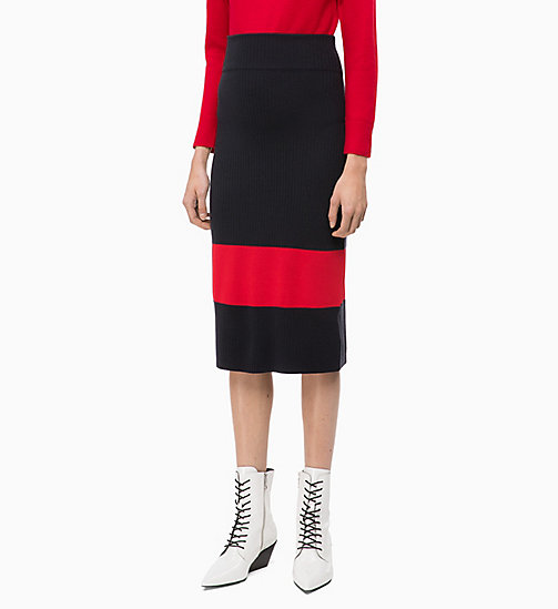 CALVINKLEIN Wool Knit Colour Block Skirt - DEEP NAVY / CRIMSON - CALVIN KLEIN INVEST IN COLOUR - main image