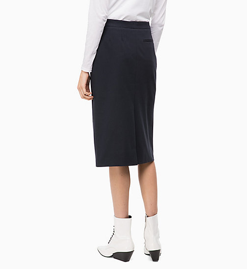 CALVINKLEIN Cotton Stretch Pencil Skirt - DEEP NAVY - CALVIN KLEIN INVEST IN COLOUR - detail image 1