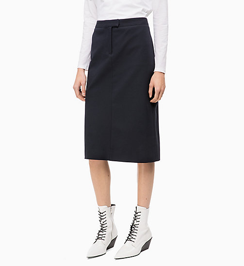 CALVINKLEIN Cotton Stretch Pencil Skirt - DEEP NAVY - CALVIN KLEIN INVEST IN COLOUR - main image