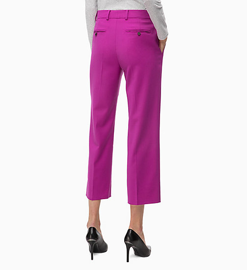 CALVINKLEIN Wool Blend Ankle Trousers - FUCHSIA - CALVIN KLEIN TROUSERS - detail image 1