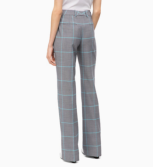 CALVINKLEIN Wool Blend Check Bootcut Trousers - ENLARGED PRINCE OF WALES - CALVIN KLEIN INVEST IN COLOUR - detail image 1
