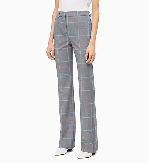 CALVIN KLEIN Wool Blend Check Bootcut Trousers - ENLARGED PRINCE OF WALES - CALVIN KLEIN CALVIN KLEIN WOMENSWEAR - main image