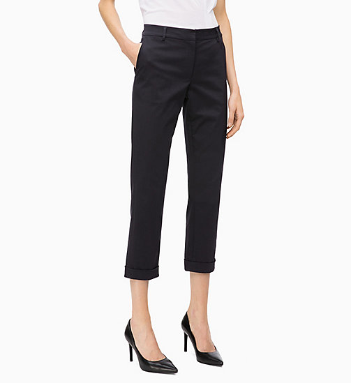 CALVINKLEIN Cotton Twill Skinny Trousers - DEEP NAVY - CALVIN KLEIN TROUSERS - main image