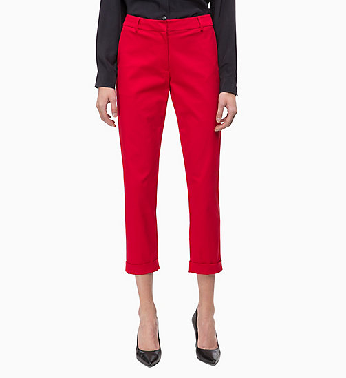 CALVINKLEIN Cotton Twill Skinny Trousers - CRIMSON - CALVIN KLEIN INVEST IN COLOUR - detail image 1