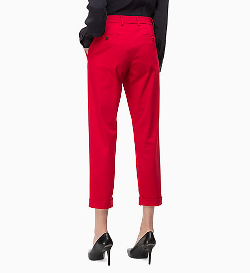 CALVINKLEIN Cotton Twill Skinny Trousers - CRIMSON - CALVIN KLEIN INVEST IN COLOUR - main image