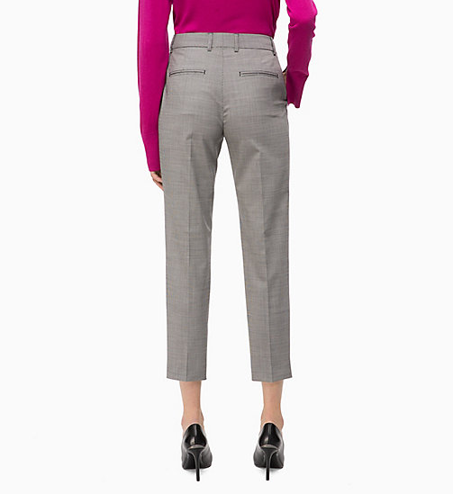 CALVIN KLEIN Wool Blend Check Ankle Trousers - BABY HOUNDSTOOTH - CALVIN KLEIN TROUSERS - detail image 1