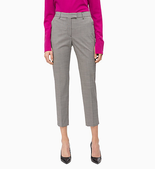 CALVIN KLEIN Wool Blend Check Ankle Trousers - BABY HOUNDSTOOTH - CALVIN KLEIN TROUSERS - main image