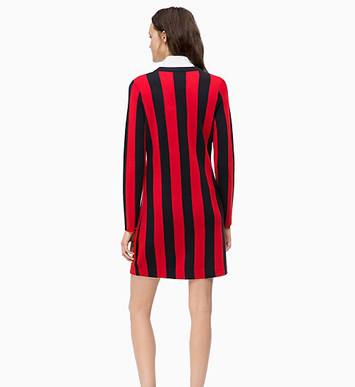 CALVINKLEIN Wool Knit Stripe Dress - DEEP NAVY / CRIMSON - CALVIN KLEIN DRESSES - detail image 1
