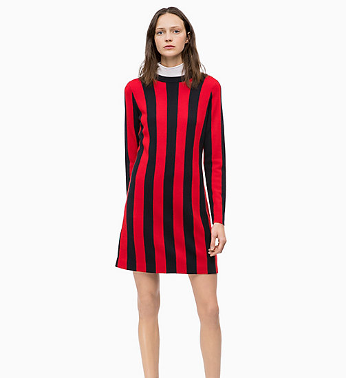 CALVINKLEIN Wool Knit Stripe Dress - DEEP NAVY / CRIMSON - CALVIN KLEIN DRESSES - main image