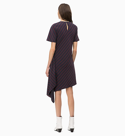 CALVINKLEIN Draped Stripe Dress - NARROW STRIPE DEEP NAVY - CALVIN KLEIN INVEST IN COLOUR - detail image 1
