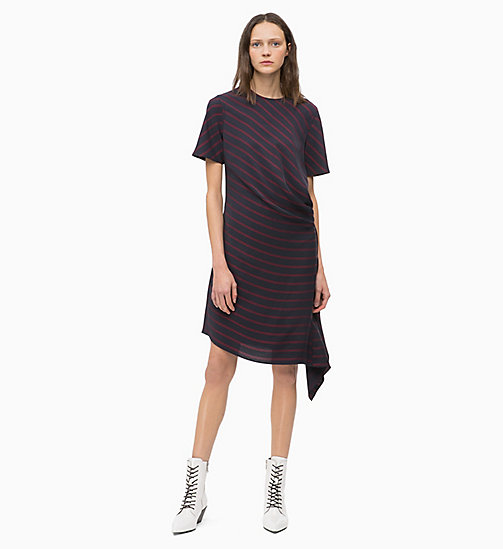 CALVINKLEIN Draped Stripe Dress - NARROW STRIPE DEEP NAVY - CALVIN KLEIN INVEST IN COLOUR - main image