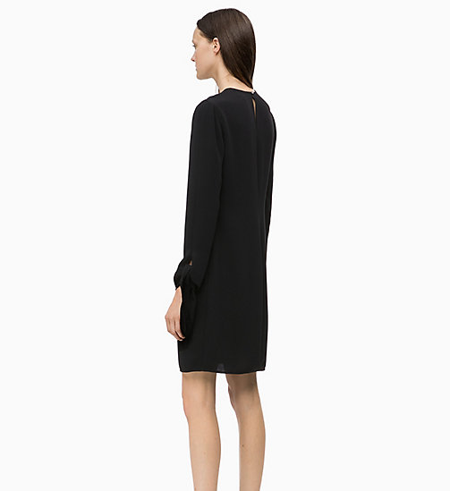 CALVIN KLEIN Twill Tie-Cuff Dress - BLACK - CALVIN KLEIN CLOTHES - detail image 1