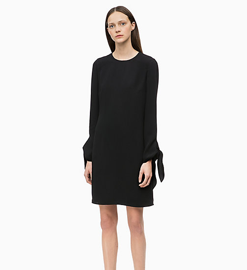 CALVIN KLEIN Twill Tie-Cuff Dress - BLACK - CALVIN KLEIN WOMEN - main image