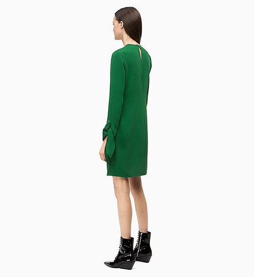 CALVIN KLEIN Twill Tie-Cuff Dress - GREEN - CALVIN KLEIN CLOTHES - detail image 1