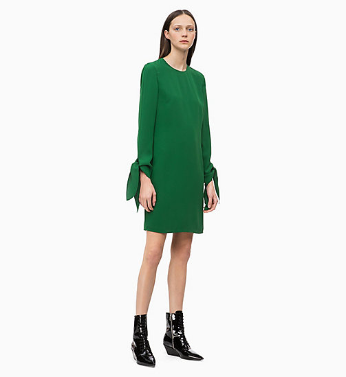 CALVIN KLEIN Twill Tie-Cuff Dress - GREEN - CALVIN KLEIN CLOTHES - main image