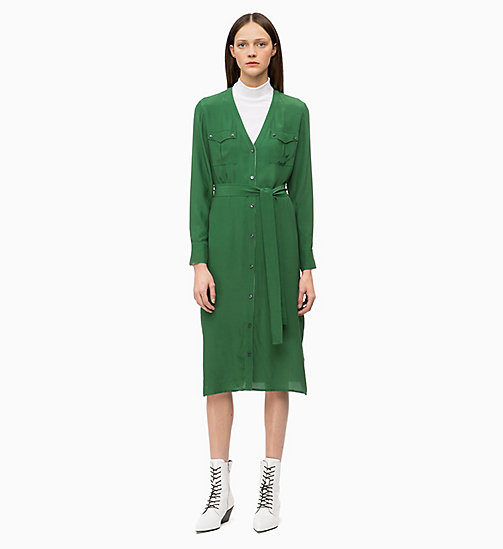 CALVIN KLEIN Belted Shirt Dress - GREEN - CALVIN KLEIN CLOTHES - main image