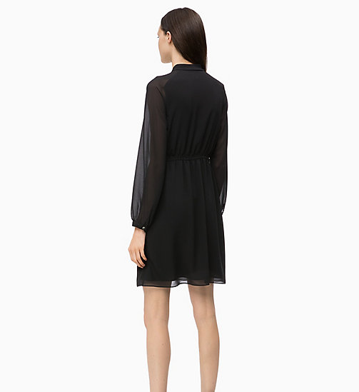 CALVINKLEIN Crepe Tie-Neck Dress - BLACK - CALVIN KLEIN CLOTHES - detail image 1