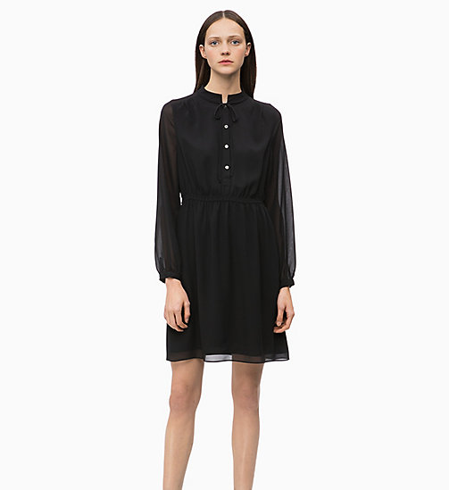 CALVIN KLEIN Crepe Tie-Neck Dress - BLACK - CALVIN KLEIN CLOTHES - main image