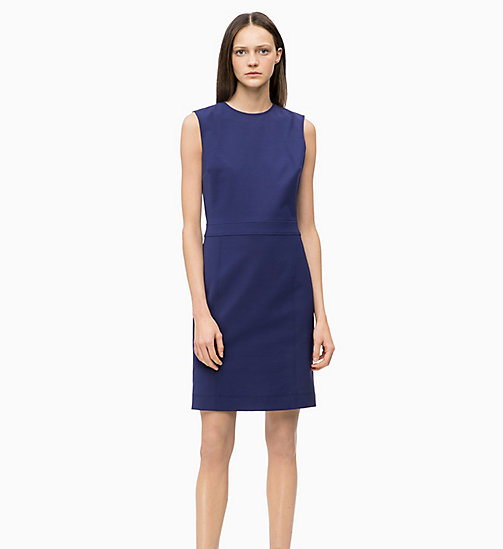 CALVIN KLEIN Cotton Blend Shift Dress - ROYAL BLUE - CALVIN KLEIN CALVIN KLEIN WOMENSWEAR - main image