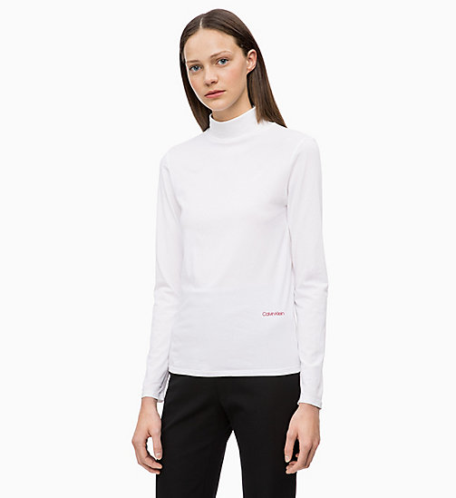 CALVINKLEIN Long Sleeve Turtleneck Top - WHITE - CALVIN KLEIN INVEST IN COLOUR - main image