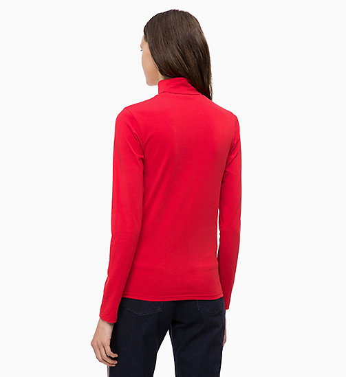 CALVINKLEIN Long Sleeve Turtleneck Top - CRIMSON - CALVIN KLEIN INVEST IN COLOUR - detail image 1