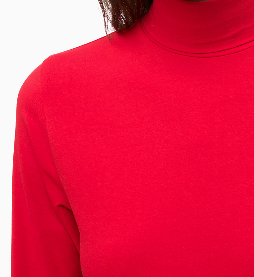 CALVINKLEIN Long Sleeve Turtleneck Top - WHITE - CALVIN KLEIN WOMEN - detail image 2
