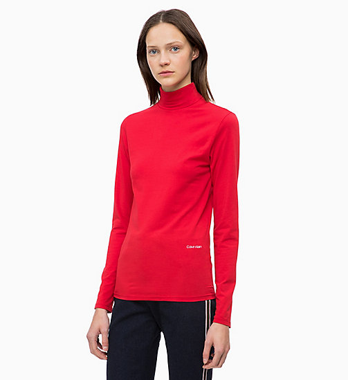 CALVINKLEIN Long Sleeve Turtleneck Top - CRIMSON - CALVIN KLEIN INVEST IN COLOUR - main image