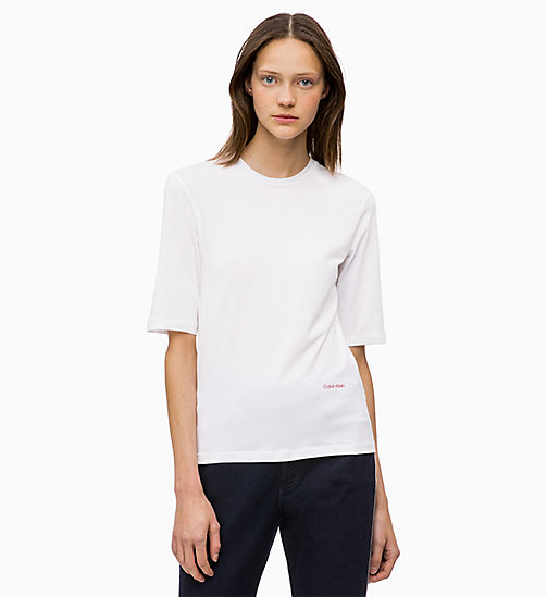 CALVINKLEIN T-Shirt aus Stretch-Baumwolle - WHITE - CALVIN KLEIN FARB-INVESTMENT - main image