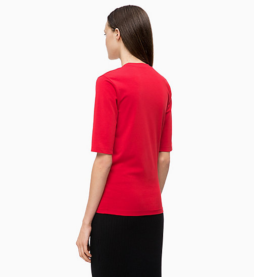 CALVINKLEIN Cotton Stretch T-shirt - CRIMSON - CALVIN KLEIN INVEST IN COLOUR - detail image 1
