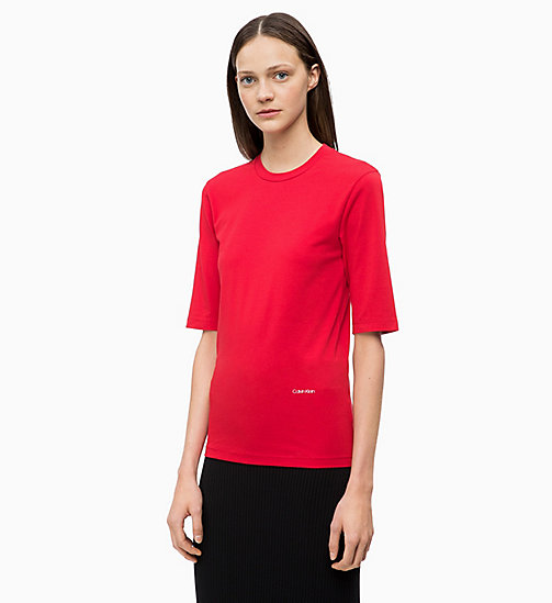 CALVIN KLEIN Cotton Stretch T-shirt - CRIMSON - CALVIN KLEIN CALVIN KLEIN WOMENSWEAR - main image
