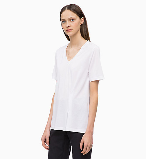 CALVINKLEIN Pleated V-Neck Top - WHITE - CALVIN KLEIN INVEST IN COLOUR - main image