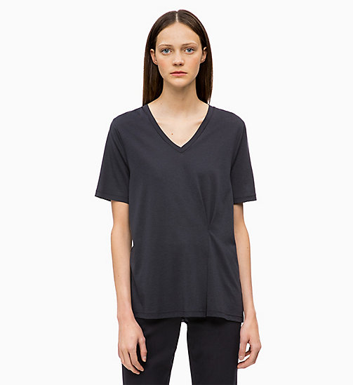 CALVINKLEIN Pleated V-Neck Top - DEEP NAVY - CALVIN KLEIN INVEST IN COLOUR - main image