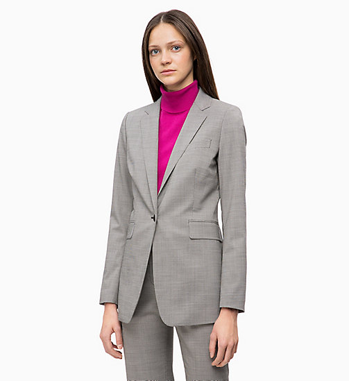 CALVINKLEIN Wool Blend Check Blazer - BABY HOUNDSTOOTH - CALVIN KLEIN NEW IN - main image