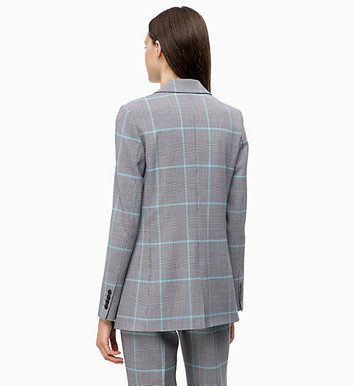 CALVINKLEIN Wool Blend Check Blazer - ENLARGED PRINCE OF WALES - CALVIN KLEIN INVEST IN COLOUR - detail image 1