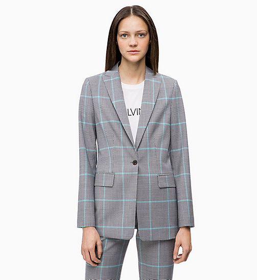 CALVINKLEIN Wool Blend Check Blazer - ENLARGED PRINCE OF WALES - CALVIN KLEIN INVEST IN COLOUR - main image
