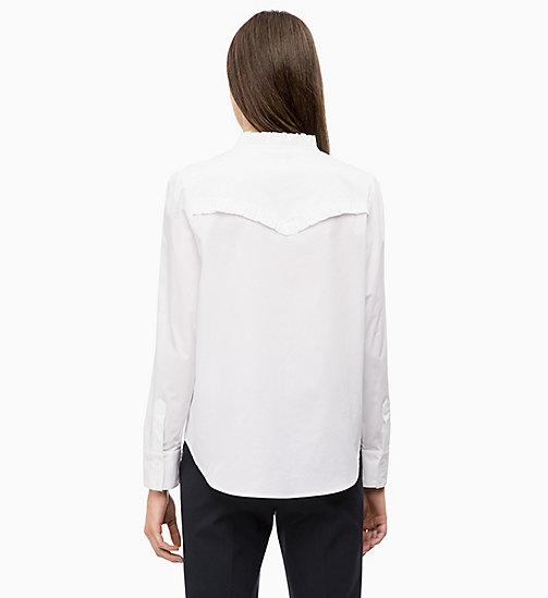 CALVINKLEIN Cotton Poplin Frilled Shirt - WHITE - CALVIN KLEIN INVEST IN COLOUR - detail image 1