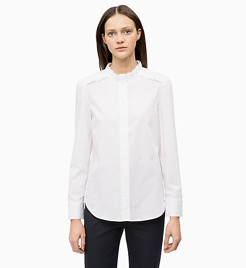 CALVINKLEIN Cotton Poplin Frilled Shirt - WHITE - CALVIN KLEIN INVEST IN COLOUR - main image