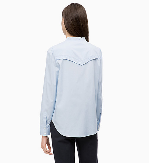 CALVINKLEIN Cotton Poplin Frilled Shirt - LIGHT BLUE - CALVIN KLEIN INVEST IN COLOUR - detail image 1