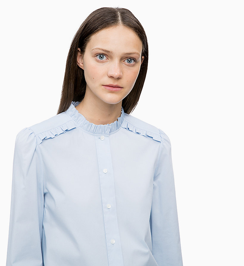 CALVIN KLEIN Cotton Poplin Frilled Shirt - WHITE - CALVIN KLEIN WOMEN - detail image 2