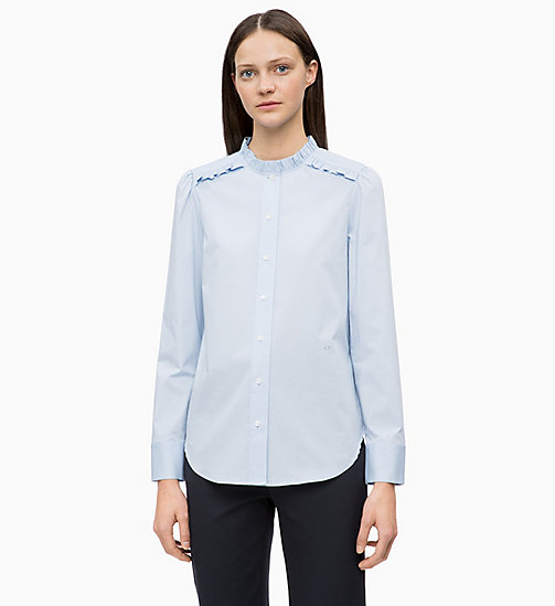 CALVINKLEIN Cotton Poplin Frilled Shirt - LIGHT BLUE - CALVIN KLEIN INVEST IN COLOUR - main image