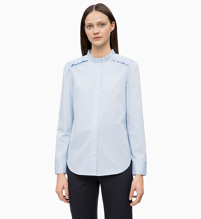 CALVIN KLEIN Cotton Poplin Frilled Shirt - WHITE - CALVIN KLEIN WOMEN - main image