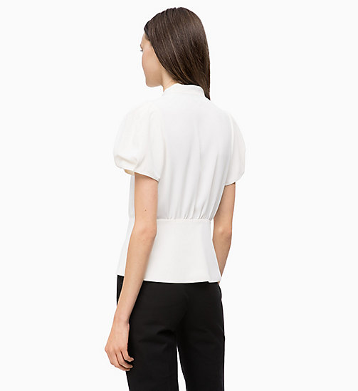 CALVINKLEIN Crepe Ruffle-Trim Blouse - CHALK - CALVIN KLEIN INVEST IN COLOUR - detail image 1
